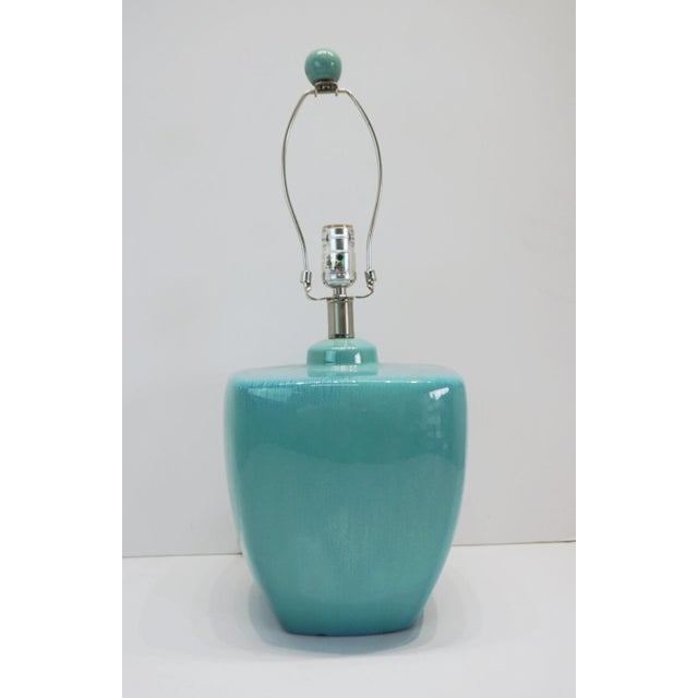 Modern Turquoise Ceramic Table Lamps - a Pair For Sale - Image 4 of 10