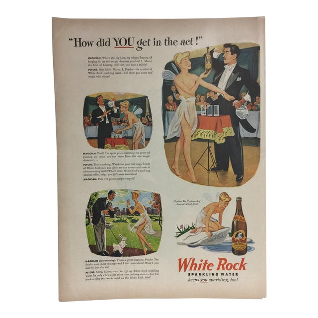 Vintage White Rock Sparkling Water Ad, 1940s For Sale