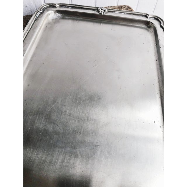 Traditional Antique Silver Plated Serving Tray From New York Central & Hudson River Railroad For Sale - Image 3 of 6