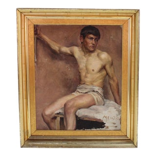 Early 20th C. Figurative Oil Painting on Canvas of Nude Male Figure Study by Menzies For Sale