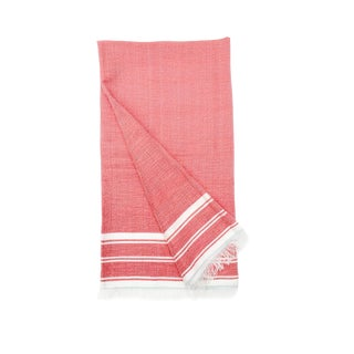 Pink Throw Blanket or Wrap With White Stripes and Eyelash Fringe For Sale