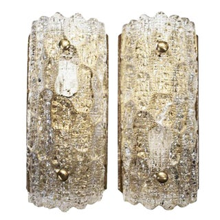 1970s Pair of Orrefors Crystal and Brass Sconces For Sale