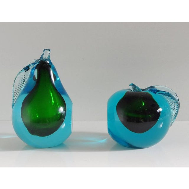 Beautiful blue and green Murano glass book ends carefully hand blown to the shape of an apple and pear / Made in Italy in...