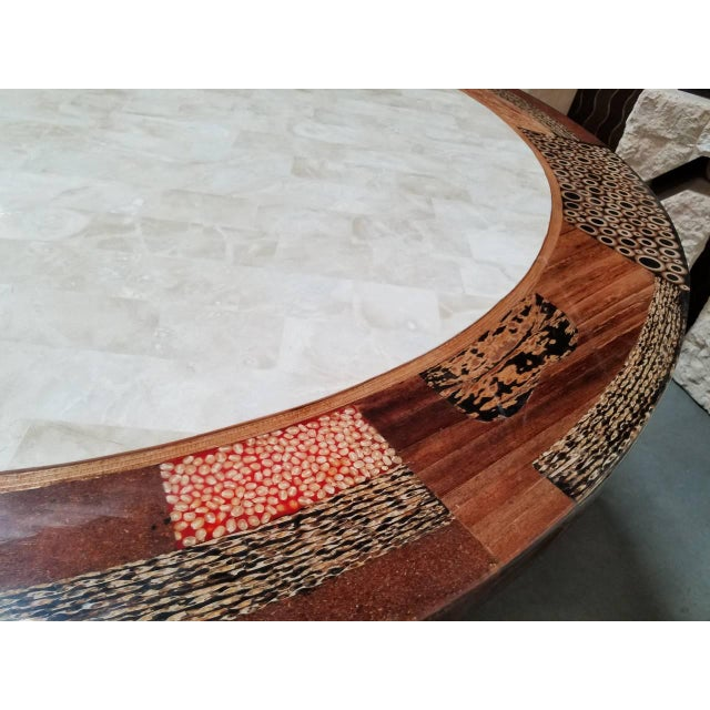 """Tessellated Stone """"Collage"""" Round Dining Table For Sale - Image 9 of 12"""