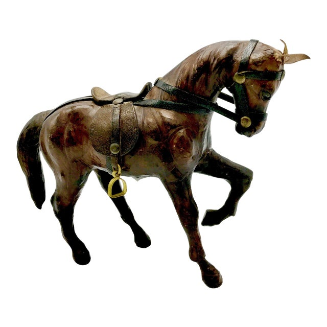 1950s Leather Wrapped Horse Sculpture Figurine For Sale