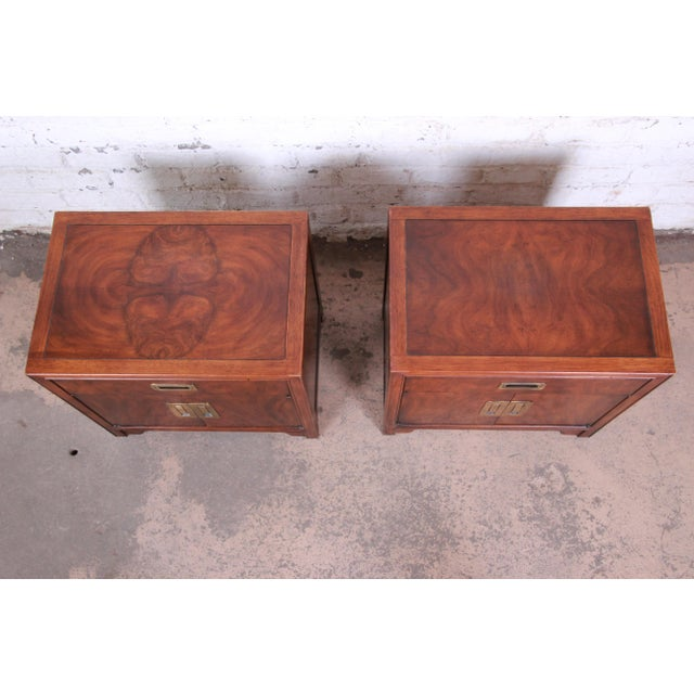 Drexel Heritage Drexel Heritage Hollywood Regency Campaign Burled Walnut Nightstands - a Pair For Sale - Image 4 of 13