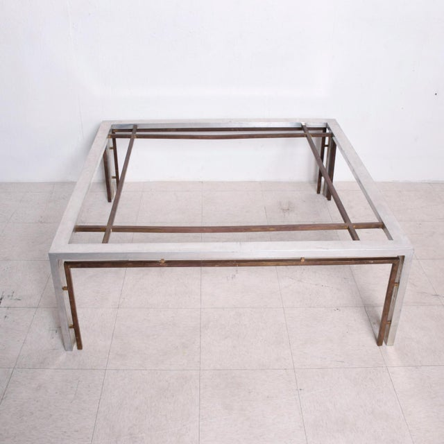 Metal Mid Century Mexican Modernist Large Coffee Table Arturo Pani Aluminum Bronze For Sale - Image 7 of 9