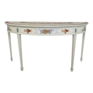Adam Style Paint Decorated Demi-lune Console Table For Sale