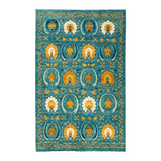 "Persian Suzani Style Blue Hand-Knotted Rug- 5' 2"" X 8'"