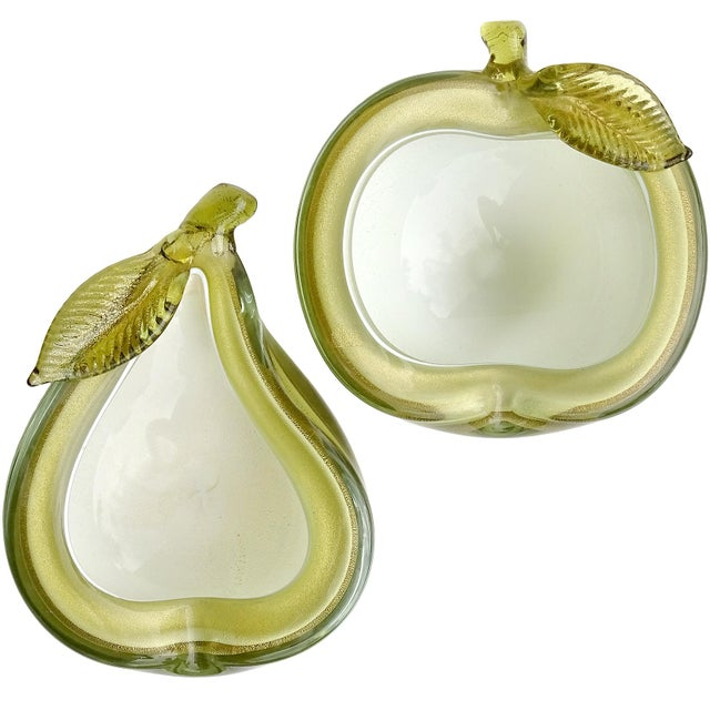 Barbini Murano Vintage Green Apple Pear Gold Flecks Italian Art Glass Mid Century Fruit Bowls - a Pair For Sale - Image 12 of 12