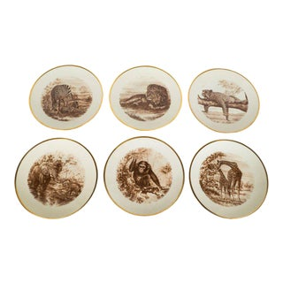 Set of Six Sepia Safari Themed Dessert/Hors' Deouvres Plates by Limoges