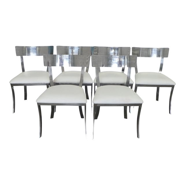 Post Modern Chrome / Aluminum Klismos Dining Chairs - Set of 6 For Sale