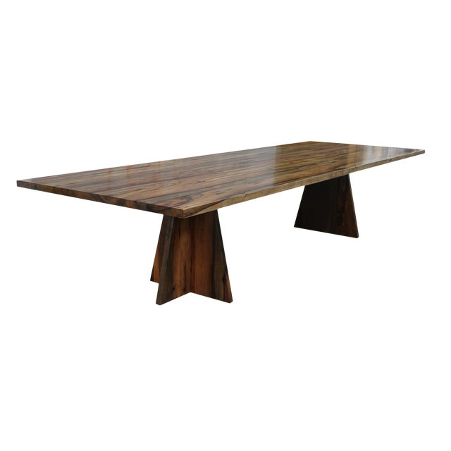 Costantini Solid Argentine Rosewood Twin Pedestal Luca Table For Sale