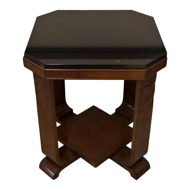 American Art Deco Side Table With Polished Black Granite Top 1930s For Sale