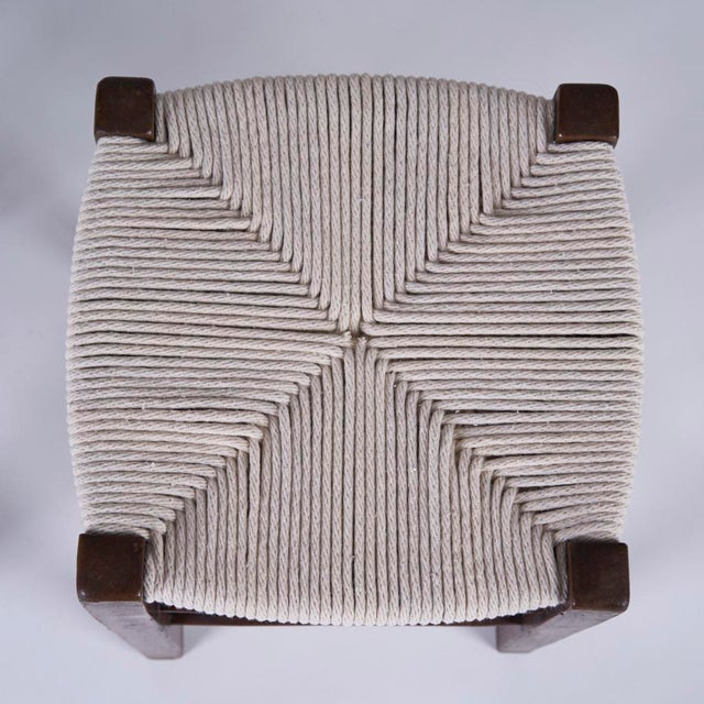 Charlotte Perriand Vintage Mid Century Hand Woven Stools- A Pair For Sale - Image 4 of 7