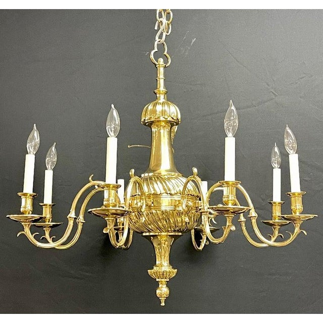 Traditional Bronze Georgian Style Chandelier Having Eight Lights For Sale - Image 3 of 13