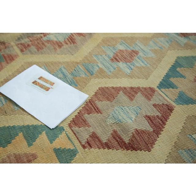 "Pink Geometric Medallion Kilim Carpet - 8'2"" X 11'3"" For Sale - Image 8 of 8"