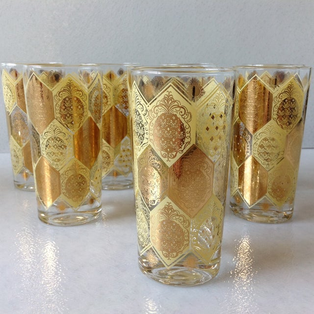Mid-Century Gold Pineapple Tumblers - Set of 8 - Image 5 of 9
