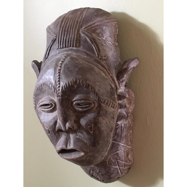 Vintage African Hand Carved Tribal Mask For Sale - Image 4 of 6