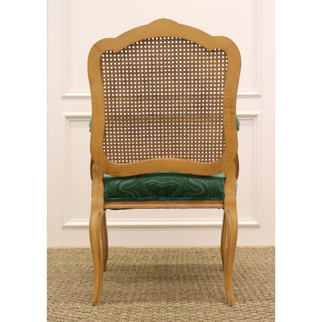 1960s Malachite Velvet Century Brand Caned French Chairs - a Pair For Sale - Image 5 of 11