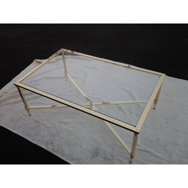 Mid-Century French Brass and Glass Coffee Table - Image 2 of 8