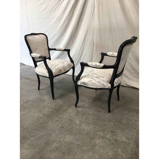 Wood 1910s French Antique Louis XV Style White Linen Arm Chairs - a Pair For Sale - Image 7 of 12