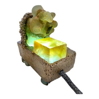"Light Sculpture: Sea Sponge Series ""Tardigrade"" Lamp, Gems, Bronze For Sale"