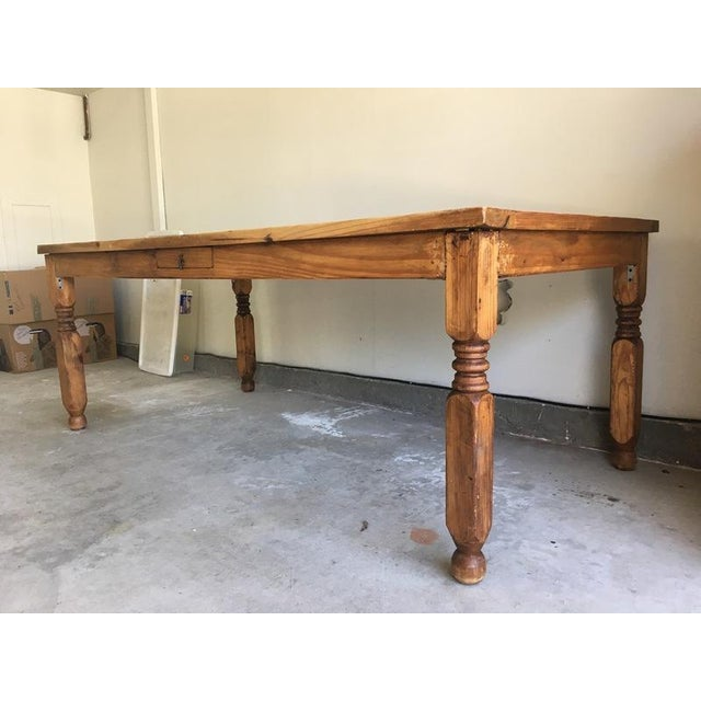Mexican Carved Wood Single Drawer Dining Table For Sale - Image 4 of 6