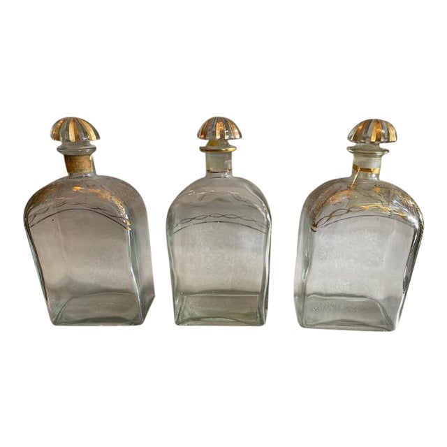 Late 19th C. Spanish Liquor Decanters With Gold Detailing - Set of 3 For Sale