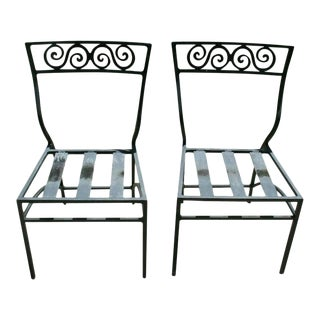 Antique Vintage Mizner Estate Art Deco Cast Aluminum Bistro Chairs - a Pair For Sale