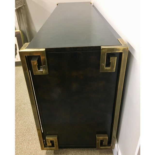 Bernhard Rohne Mastercraft Burled Carpathian Elm and Brass Buffet Server Bar For Sale In New York - Image 6 of 10