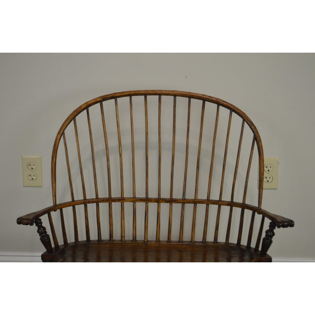 Wood Windsor Style Hand Crafted Miniature Childs Settee by K. Malone (18th Century Reproduction) For Sale - Image 7 of 12