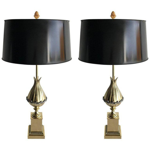 """Maison Charles """"Lotus"""" Bronze Table Lamps - A Pair For Sale In Miami - Image 6 of 6"""