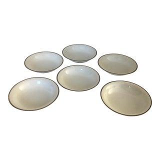 Vintage Noritake White & Platinum Trim Silverdale Pattern Set of 6 Berry Bowls. For Sale