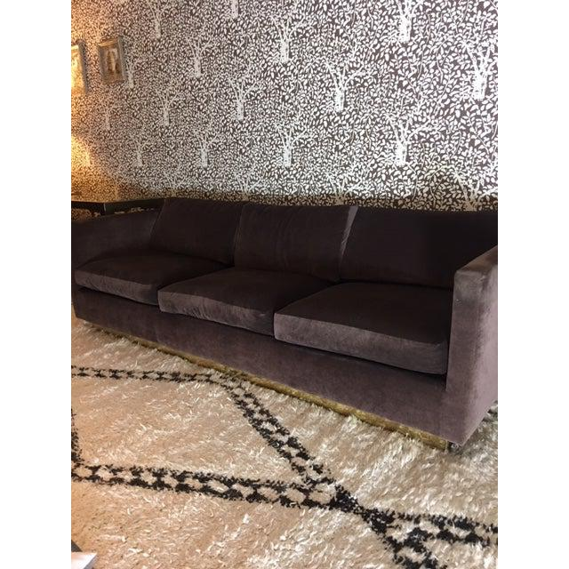 "Milo Baughman for Thayer Coggin Tuxedo sofa that ""floats"" on a brass plinth. All new interior cushions. Reupholstered in a..."