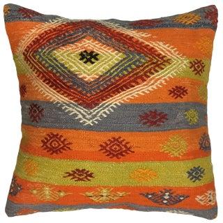 "Rug & Relic Bold Stripe Kilim Pillow   24"" For Sale"