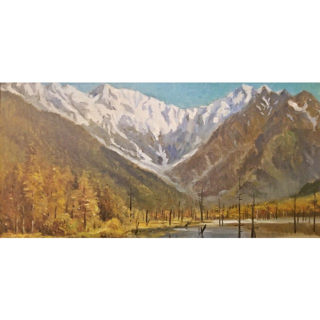 Asian Hiyashi NoBuo Large Oil on Canvas – Lake & Snow Mountains For Sale - Image 3 of 9