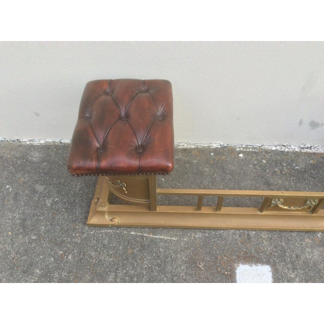 Tufted Leather and Brass Edwardian Fireplace Fender For Sale - Image 4 of 8