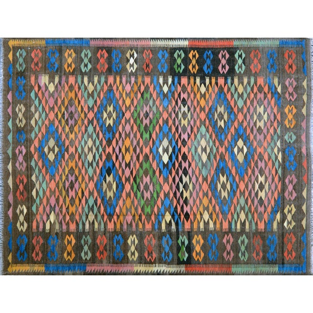 Vintage Maimana Geometric Wool Kilim Rug - 6'x8′ For Sale In New York - Image 6 of 6