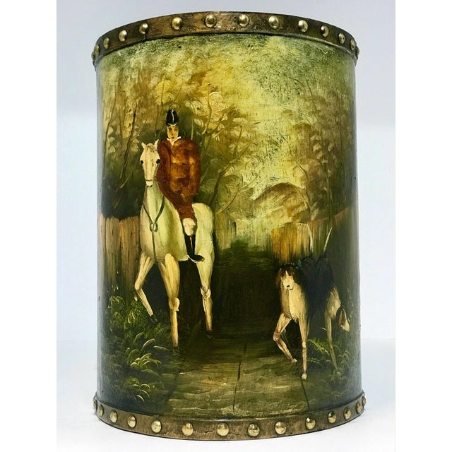Waste Basket With Painted Hunt Scene For Sale - Image 13 of 13
