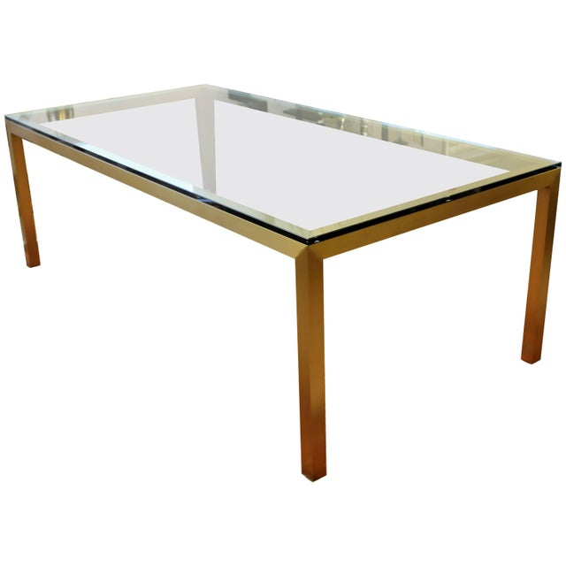 Gold Vintage Mid-Century Modern Bronze Brass & Glass Rectangular Dining Table Brueton For Sale - Image 8 of 8