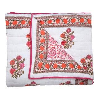 Sanya-Riyad Reversible Quilt, Queen - Pink & Orange For Sale