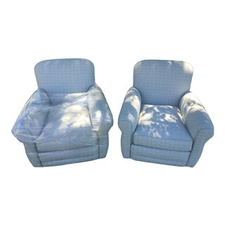 Gray Tweed Designer Club Chairs - A Pair For Sale