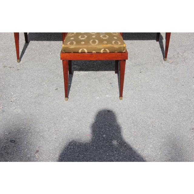1910s Vintage French Empire Solid Mahogany Dining Chairs - Set of 6 For Sale - Image 12 of 13