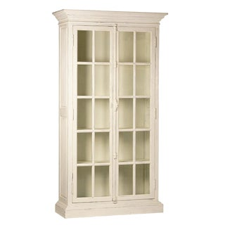 Antiqued White Glass Door Cabinet For Sale