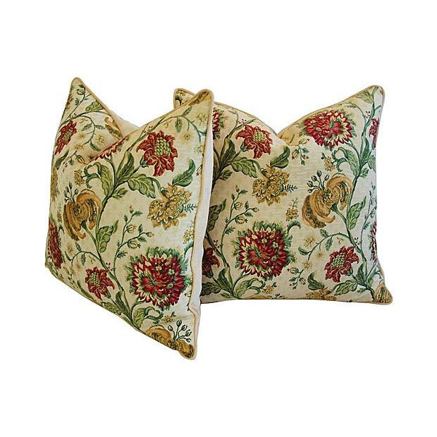 "Cream Custom Scalamandre Floral Brocade Feather/Down Pillows 24"" Square - Pair For Sale - Image 8 of 14"