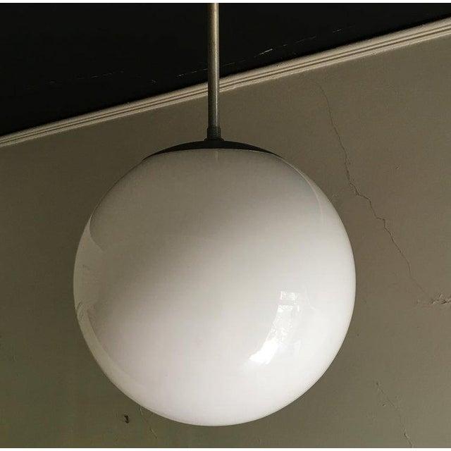 Glass Kurt Versen Spherical Milk Glass Globe Pendant For Sale - Image 7 of 7