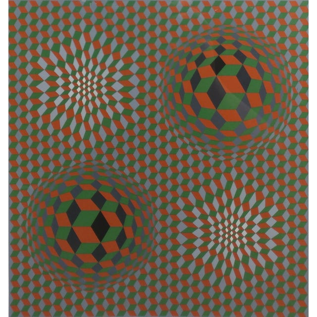 Bauhaus Vintage Victor Vasarely Geometric Abstract Serigraph, Signed For Sale - Image 3 of 10