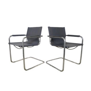 Italian Modern Leather Chrome Chairs - A Pair For Sale