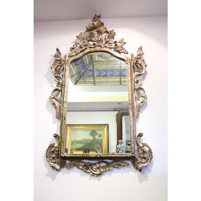 20th Century Italian Louis XV Style Silvered Wood Antique Wall Mirror For Sale - Image 13 of 13